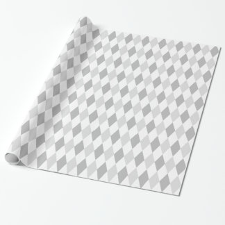 Two Gray Harlequin Diamond Pattern Wrapping Paper