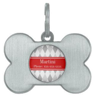 Two Gray White Harlequin Red Ribbon Name Monogram Pet Tag