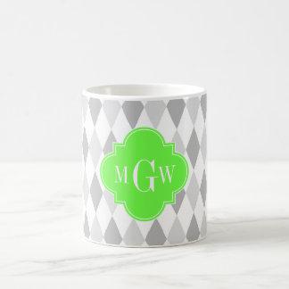 Two Gray Wht Harlequin Lime 3 Initial Monogram Mug