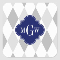 Two Gray Wht Harlequin Navy 3 Initial Monogram Square Sticker