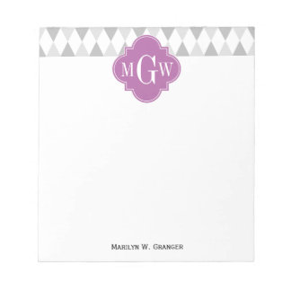 Two Gray Wht Harlequin Orchid 3 Initial Monogram Notepad