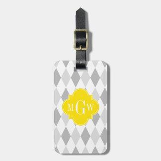 Two Gray Wht Harlequin Yellow 3 Initial Monogram Bag Tag