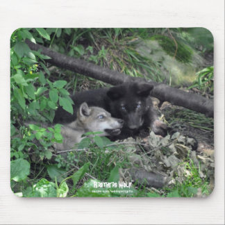 Two Gray Wolf Pups Playing Wildlife Nature Photo Mouse Pad
