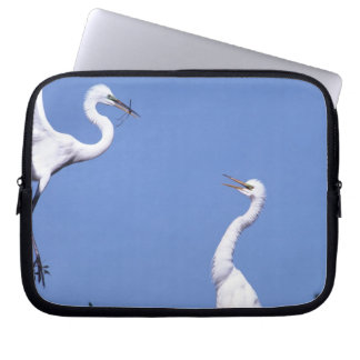 Two Great Egrets (Ardea alba) in a courtship Laptop Sleeves