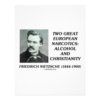 """Two Great European Narcotics: Alcohol Christianity 8.5"""" X 11"""" Flyer"""