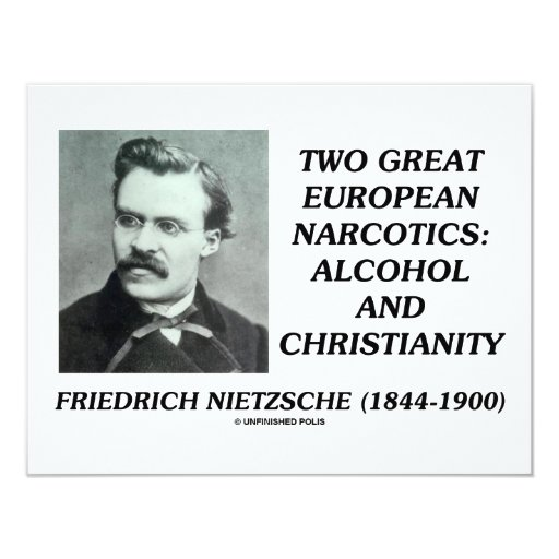 """Two Great European Narcotics: Alcohol Christianity 4.25"""" X 5.5"""" Invitation Card"""