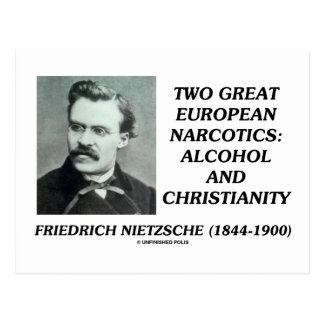 Two Great European Narcotics: Alcohol Christianity Postcard