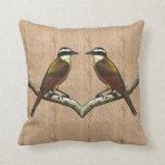 Two Great Kiskadee Birds on Bark Background: Art Pillow