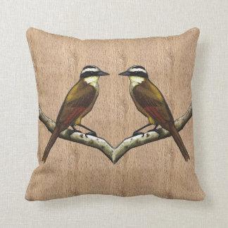Two Great Kiskadee Birds on Bark Background: Art Throw Pillow