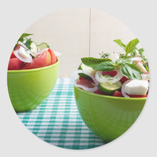 Two green bowl with vegetable vegetarian salad classic round sticker