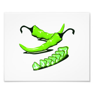 Two Green Chili peppers one cut up Photo Art