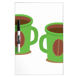 Two green coffees mugs dry erase board