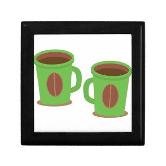 Two green coffees mugs keepsake box