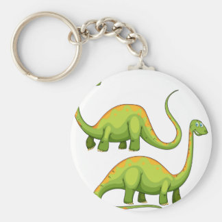 Two green dinosaurs smiling basic round button keychain