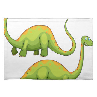 Two green dinosaurs smiling cloth place mat