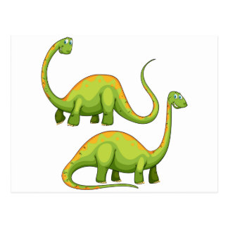 Two green dinosaurs smiling postcard