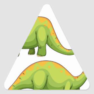 Two green dinosaurs smiling triangle sticker