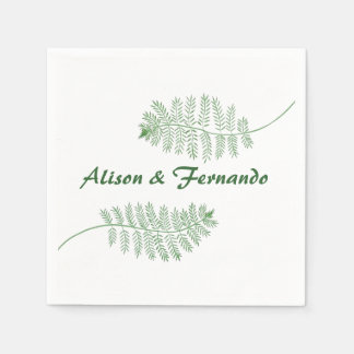 Two Green Ferns Personalized Wedding Napkins