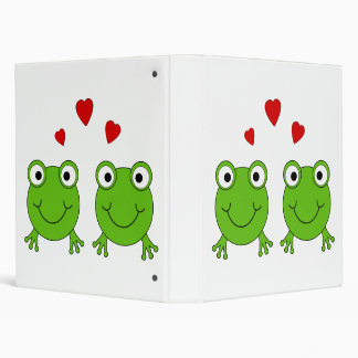 Two green frogs with red hearts. binder