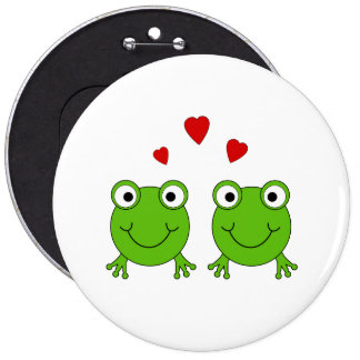 Two green frogs with red hearts. buttons