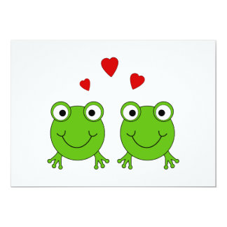 Two green frogs with red hearts. card