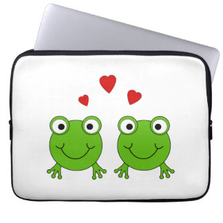 Two green frogs with red hearts. computer sleeves