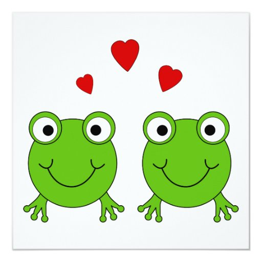 Two green frogs with red hearts. invitation