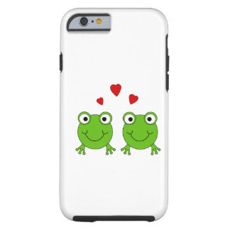 Two green frogs with red hearts. iPhone 6 case