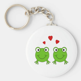Two green frogs with red hearts. keychain