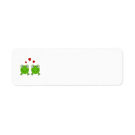Two green frogs with red hearts. label