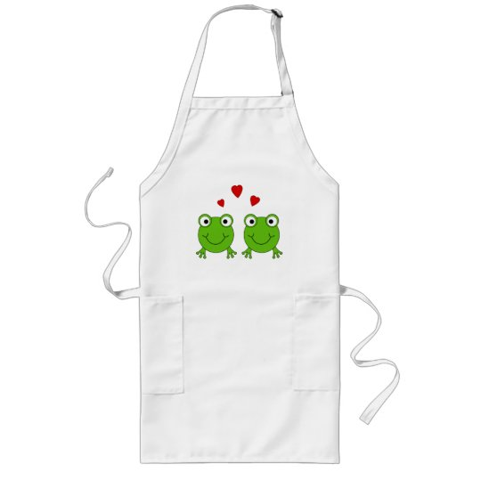 Two green frogs with red hearts. long apron