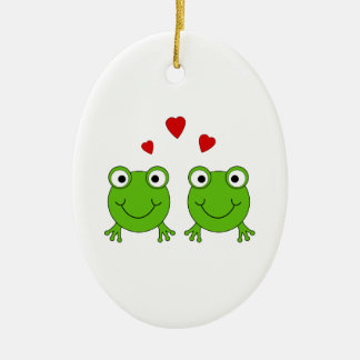 Two green frogs with red hearts christmas tree ornaments