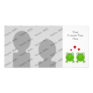 Two green frogs with red hearts. personalized photo card