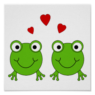 Two green frogs with red hearts. poster