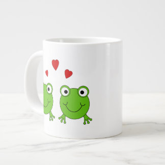 Two green frogs with red hearts. 20 oz large ceramic coffee mug