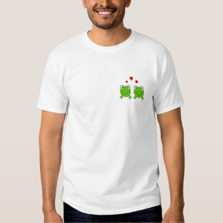 Two green frogs with red hearts. t-shirt