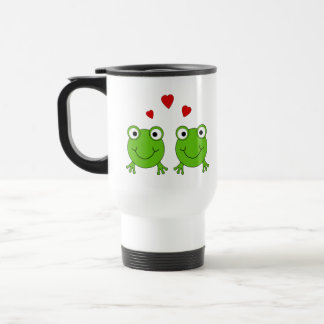 Two green frogs with red hearts. travel mug