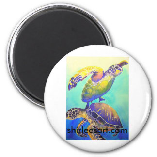 Two Green Sea Turtles 2 Inch Round Magnet