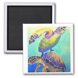 Two Green Sea Turtles 2 Inch Square Magnet