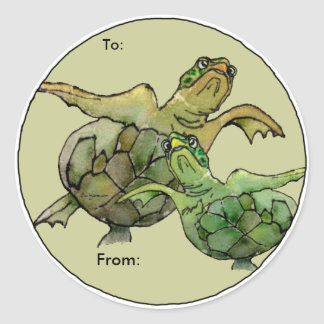 Two Green Sea Turtles Cartoon  Personalized Labels Classic Round Sticker