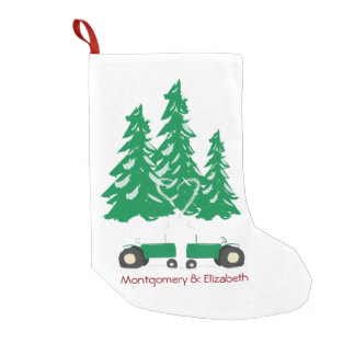 Two Green Tractors Christmas Stocking