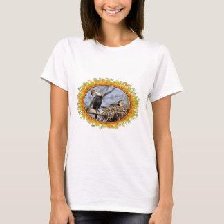 Two gret Cormorants in nest in frame of leaves T-Shirt