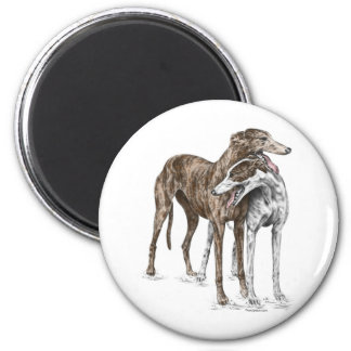 Two Greyhound Friends Dog Art 2 Inch Round Magnet