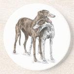 Two Greyhound Friends Dog Art Beverage Coasters