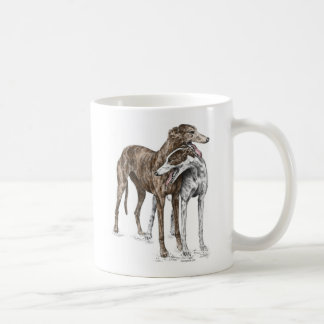 Two Greyhound Friends Dog Art Coffee Mug
