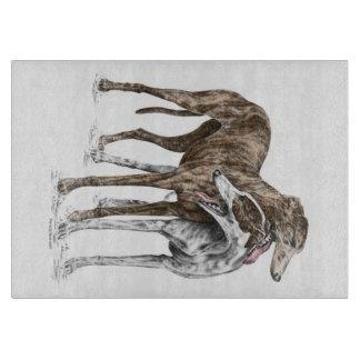 Two Greyhound Friends Dog Art Cutting Board