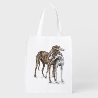 Two Greyhound Friends Dog Art Grocery Bag