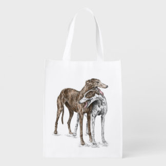 Two Greyhound Friends Dog Art Grocery Bags
