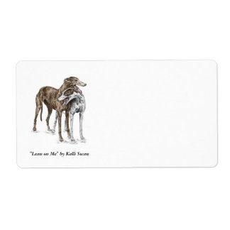 Two Greyhound Friends Dog Art Label