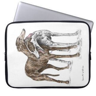 Two Greyhound Friends Dog Art Laptop Sleeve
